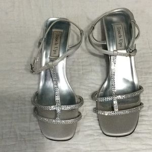 Touch Ups silver sandals with rhinestones.